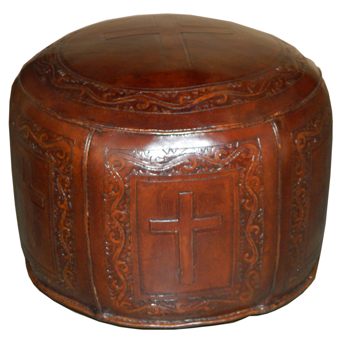 Large Round Brown Simple Cross Ottoman