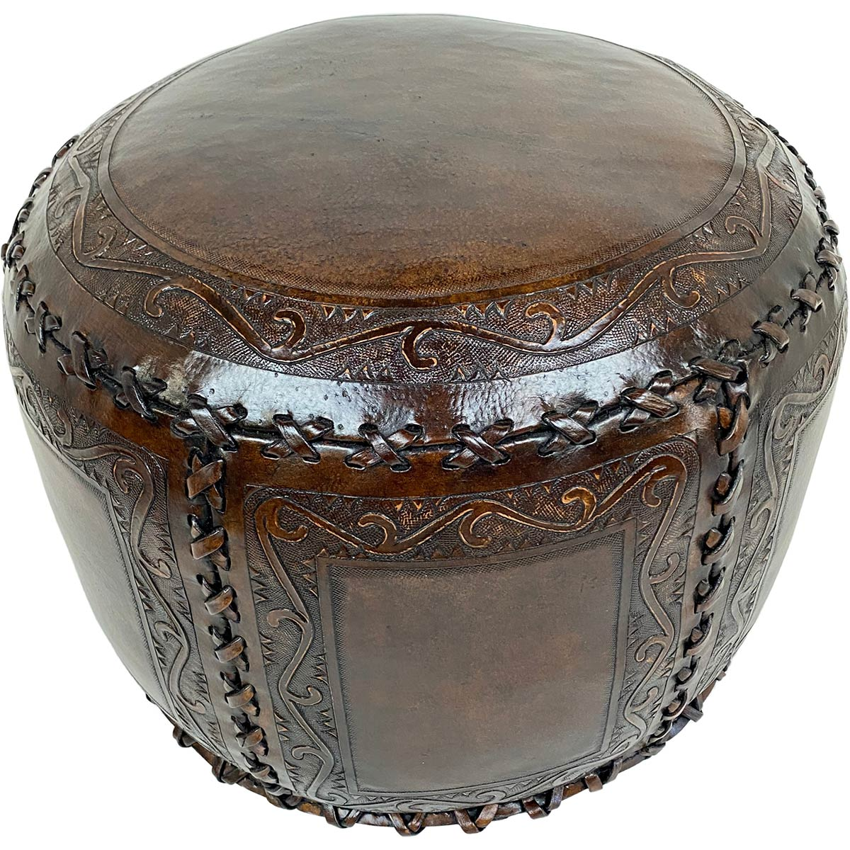 Large Round Classic Stitch Ottoman - Antique Brown