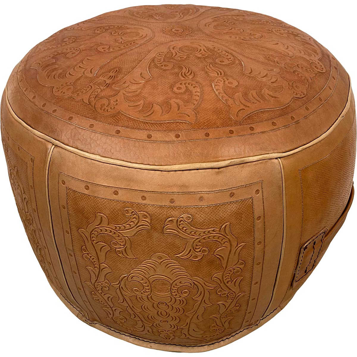 Large Round Ottoman - Colonial Natural