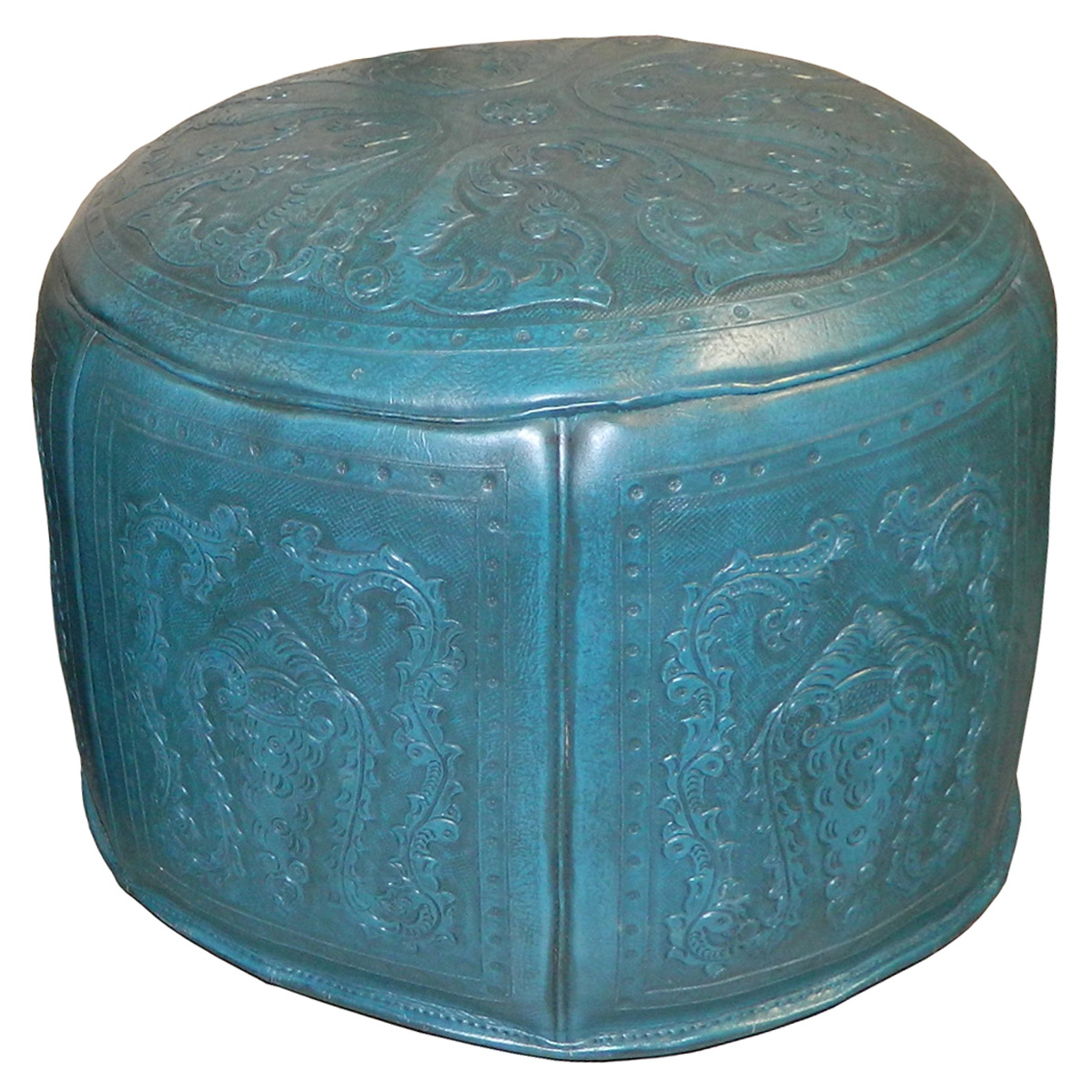 Large Round Turquoise Colonial Ottoman