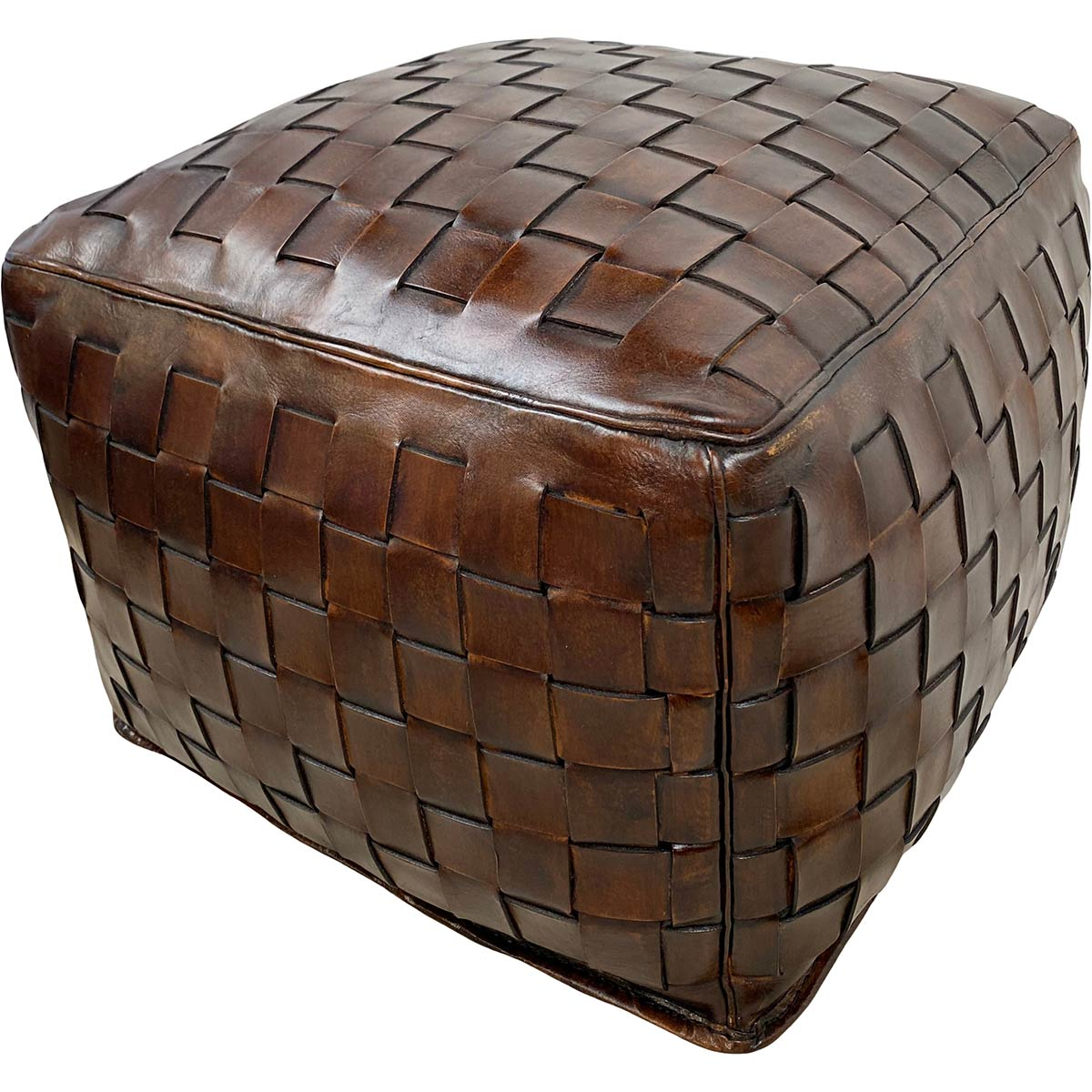 Large Square Braided Ottoman - Antique Brown