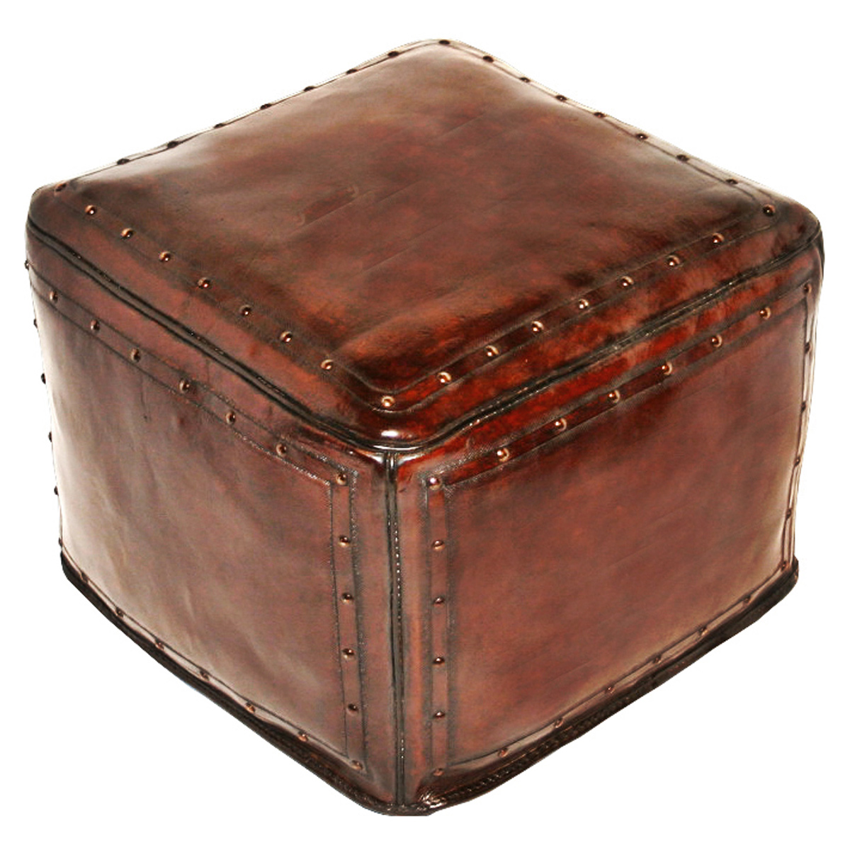 Large Square Brown with Tacks Ottoman