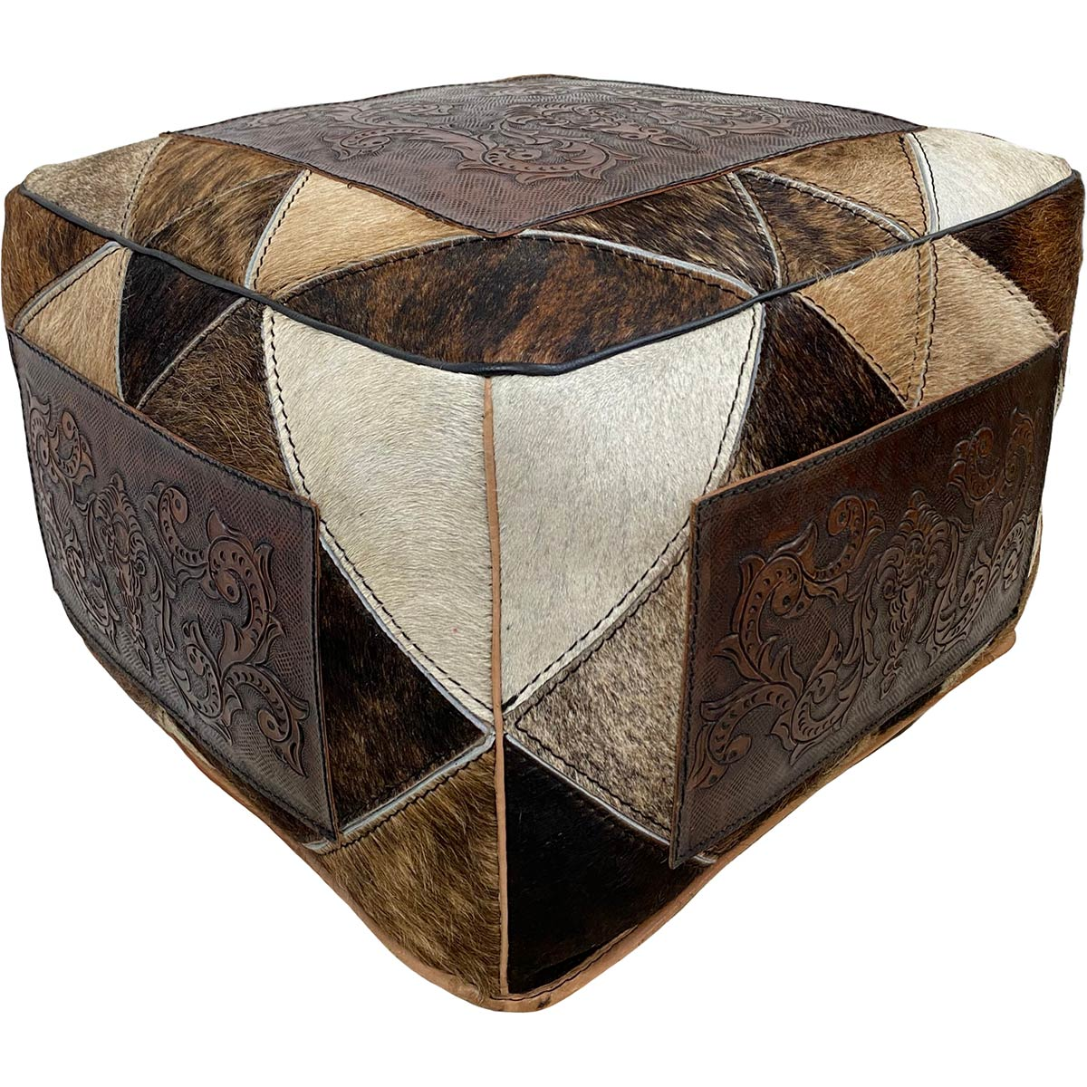 Large Square Hair on Hide Ottoman - Patchwork Colonial