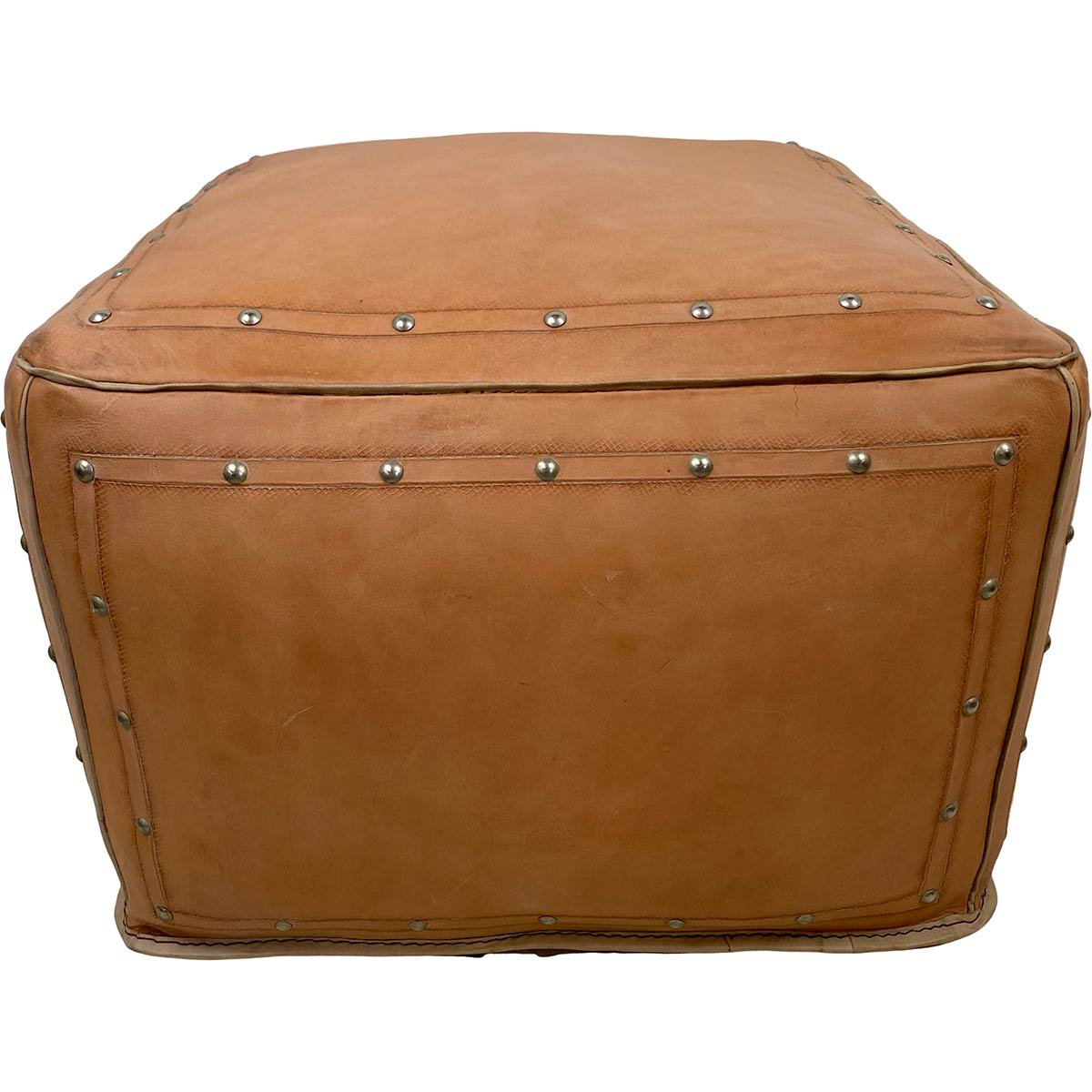 Large Square Ottoman with Tacks - Natural