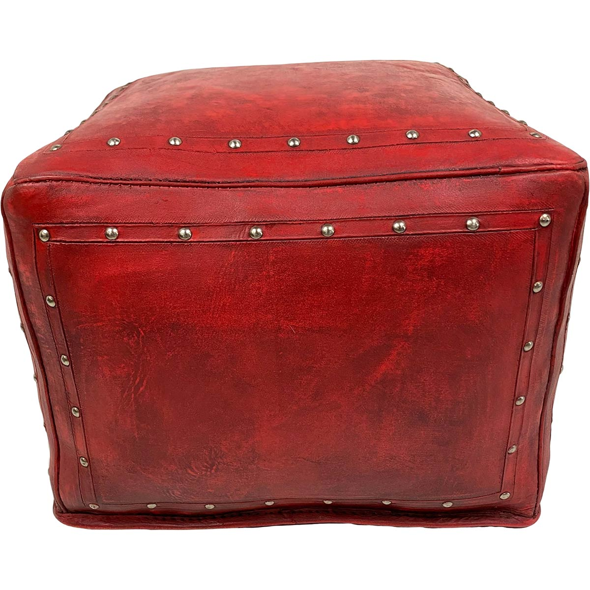 Large Square Ottoman with Tacks - Red