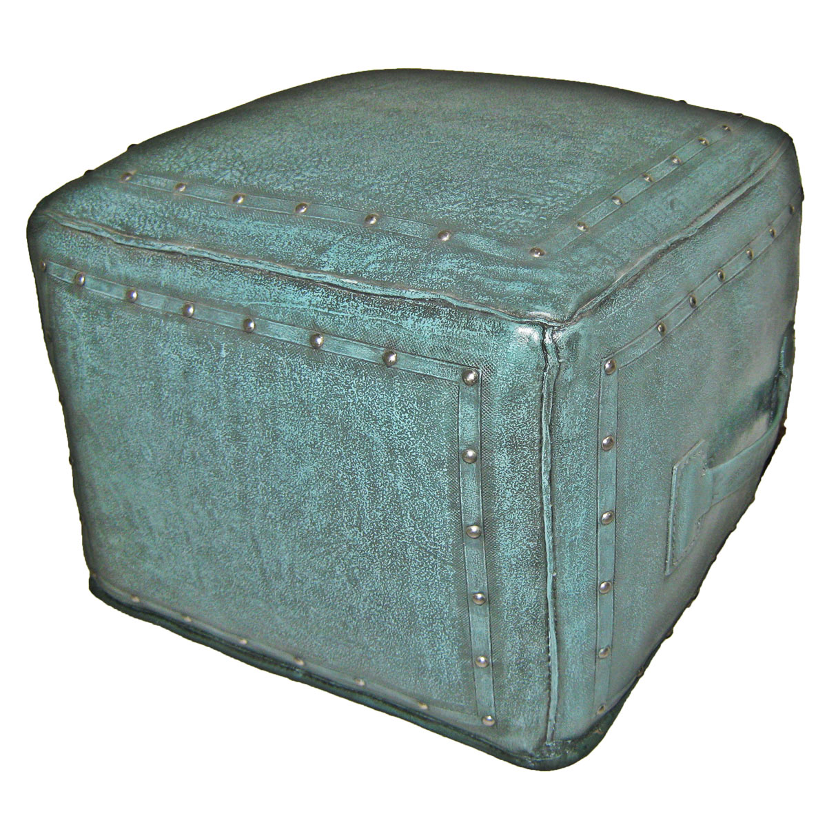 Large Square Turquoise with Tacks Ottoman