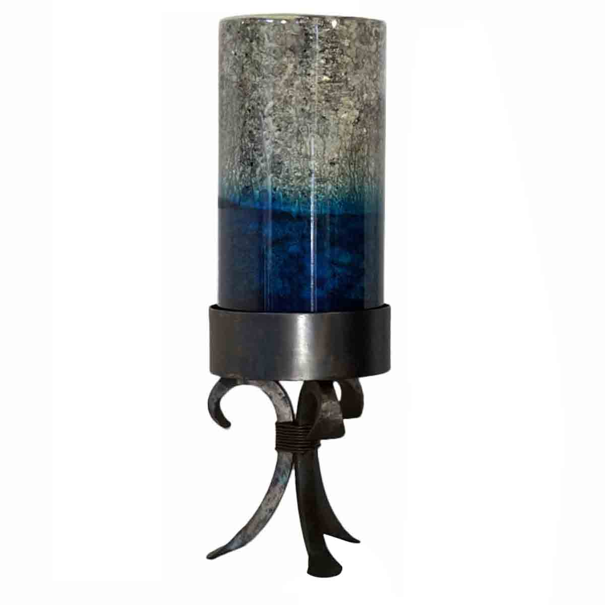 Large Two Tone Candle Holder on Forged Iron Base