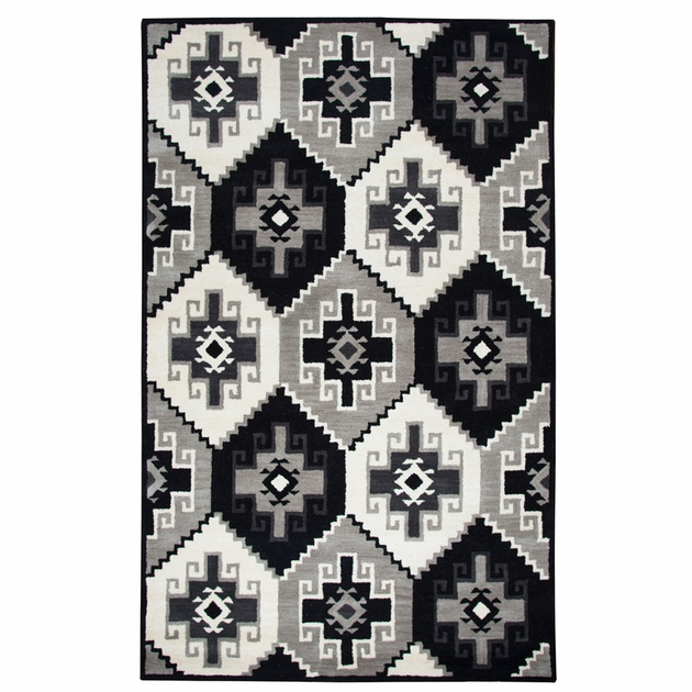 Las Cruces Black And White Rug 5 X 8