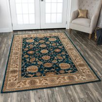 Leadville Gold and Blue Floral Rug - 9 x 13
