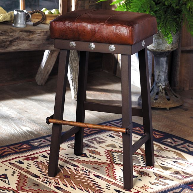 Leather And Iron Barstool With Silver Conchos 32 Inch