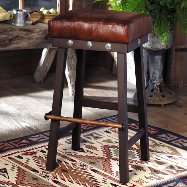 Western Furniture 32 Inch Leather And Iron Barstool With
