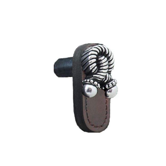 Leather Knob with Pewter Knotted Rope