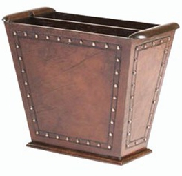 Leather Magazine Rack with Nailheads
