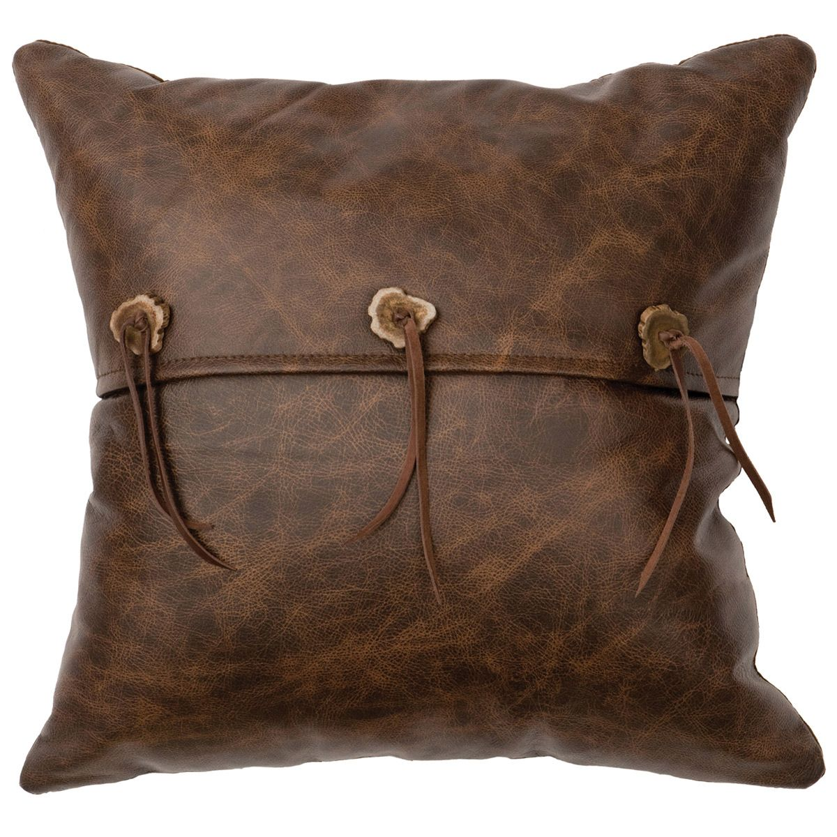 Leather Pillow with Antler Buttons - Leather Back