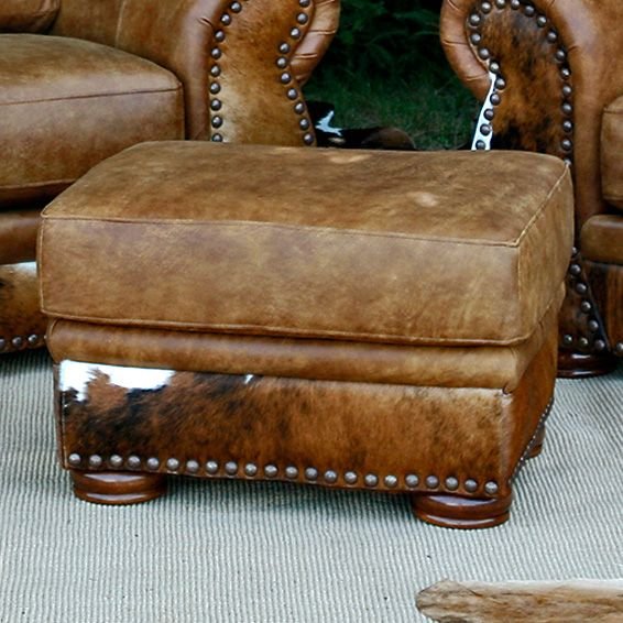 Legend Stallone Ottoman with Brindle Hide