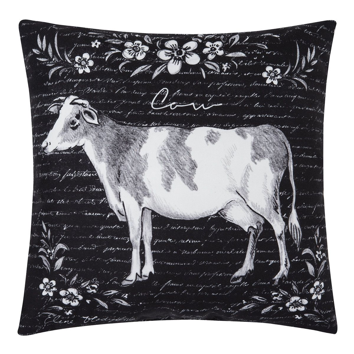Letters Home Cow Pillow