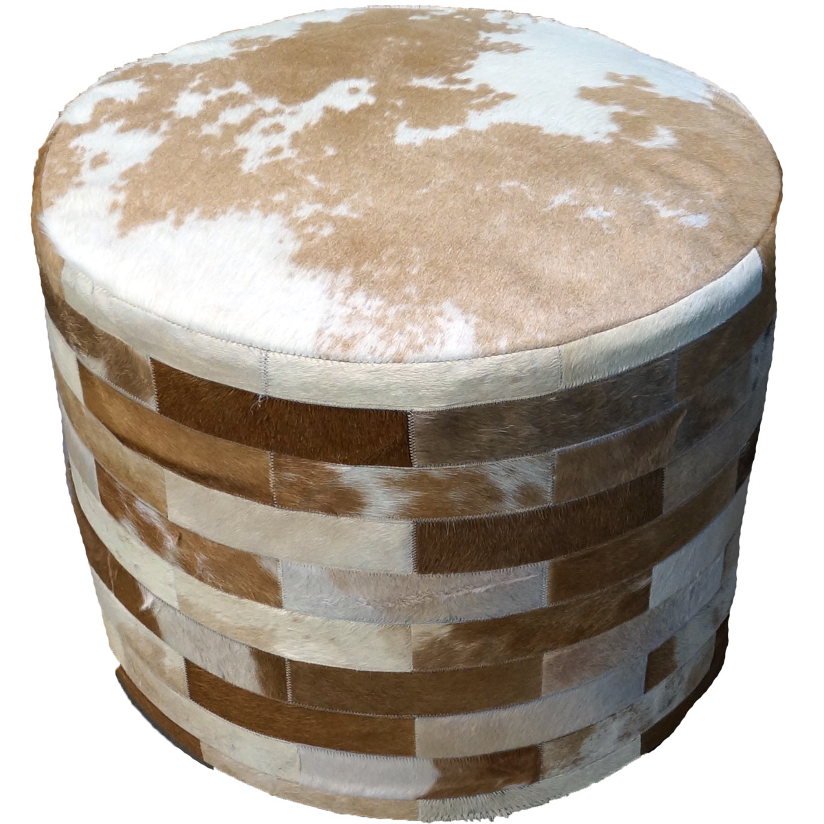 Light Brown Round Cowhide Ottoman - 24 Inch