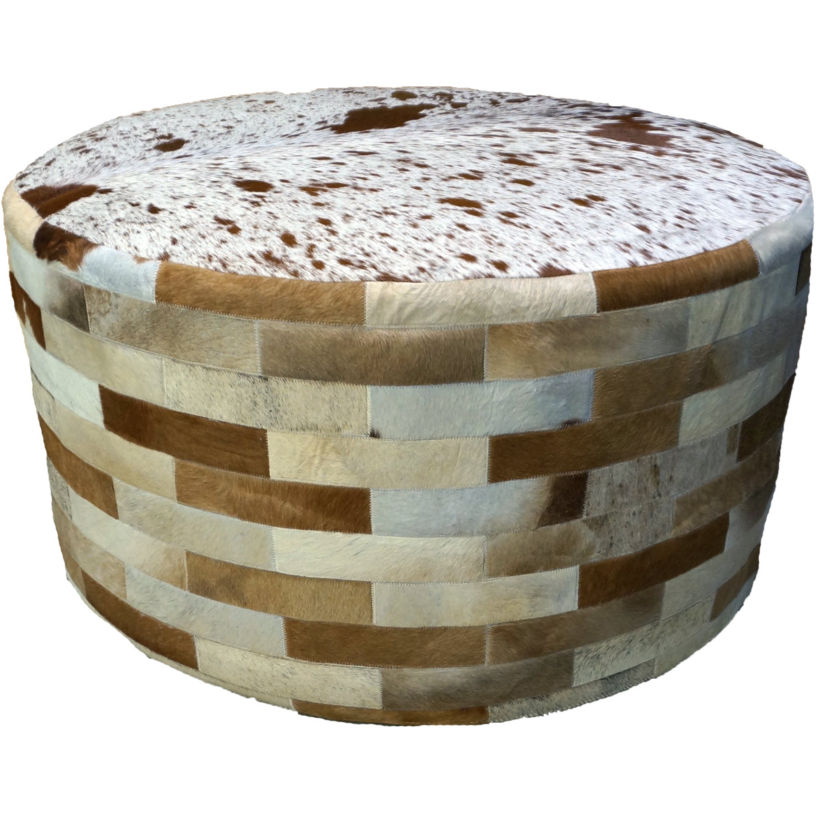 Light Brown Round Cowhide Ottoman - 36 Inch