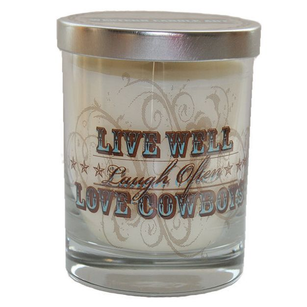 Live, Laugh, Love Cowboys Glass Candle