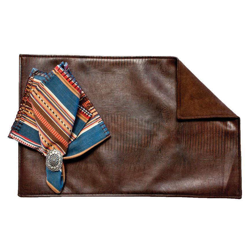 Lizardo Cocoa Placemats with Suave Chocolate Back - Set of 4