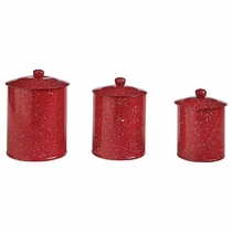 Lodge Red Canisters - Set of 3