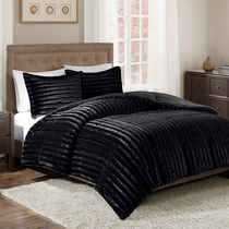 Logan Black Faux Fur Comforter Set - King