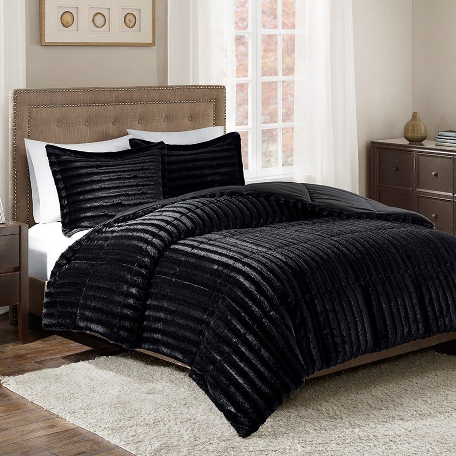 Logan Black Faux Fur Comforter Set - Queen