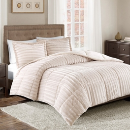 Logan Champagne Faux Fur Bedding Collection