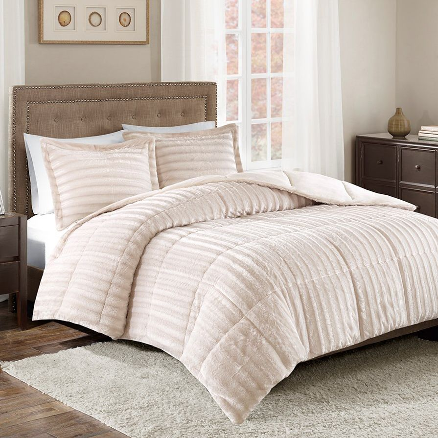 Logan Champagne Faux Fur Comforter Set - King