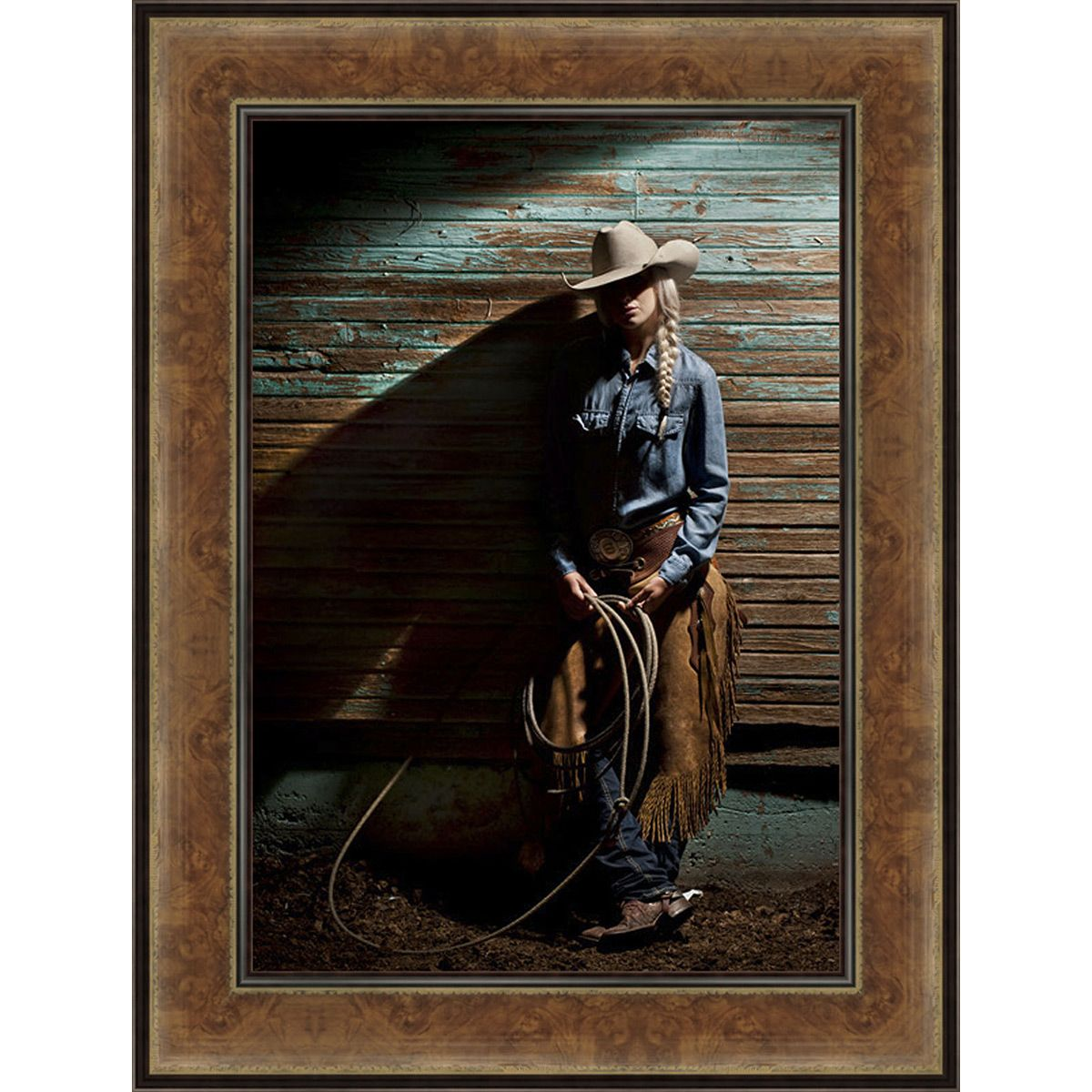 Lone Cowgirl Hideaway Framed Canvas
