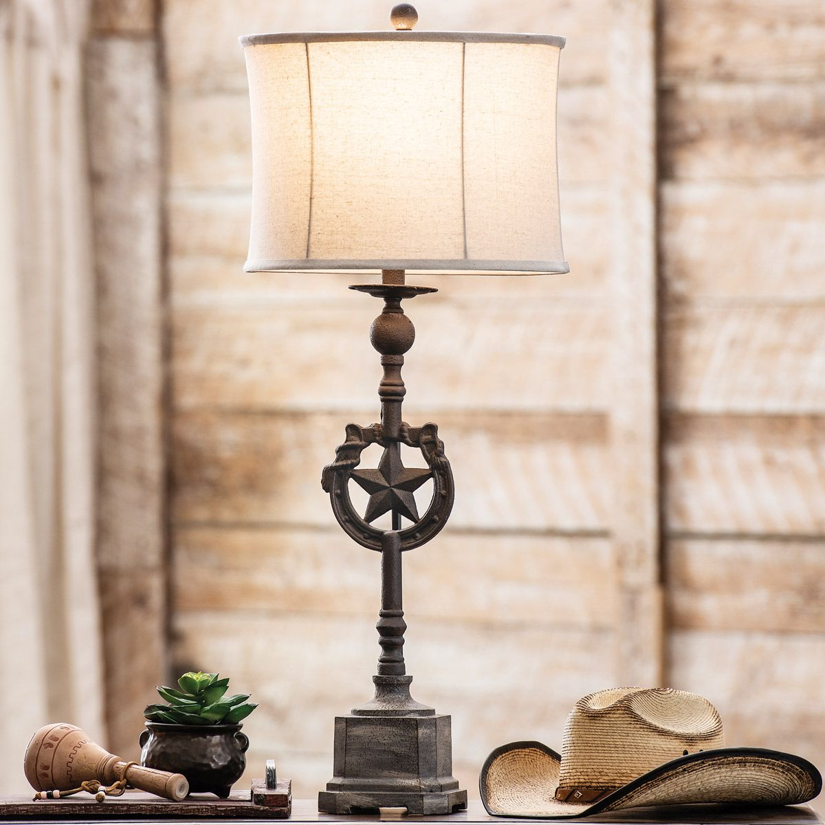 Lone Star & Horseshoe Iron Table Lamp