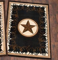 Lone Star Riders Black Rug - 5 x 7
