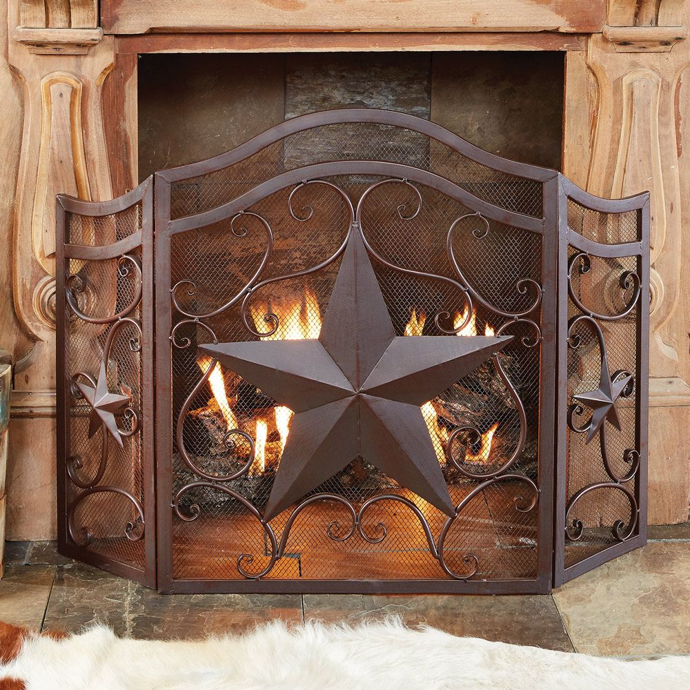Lone Star & Scroll Fireplace Screen