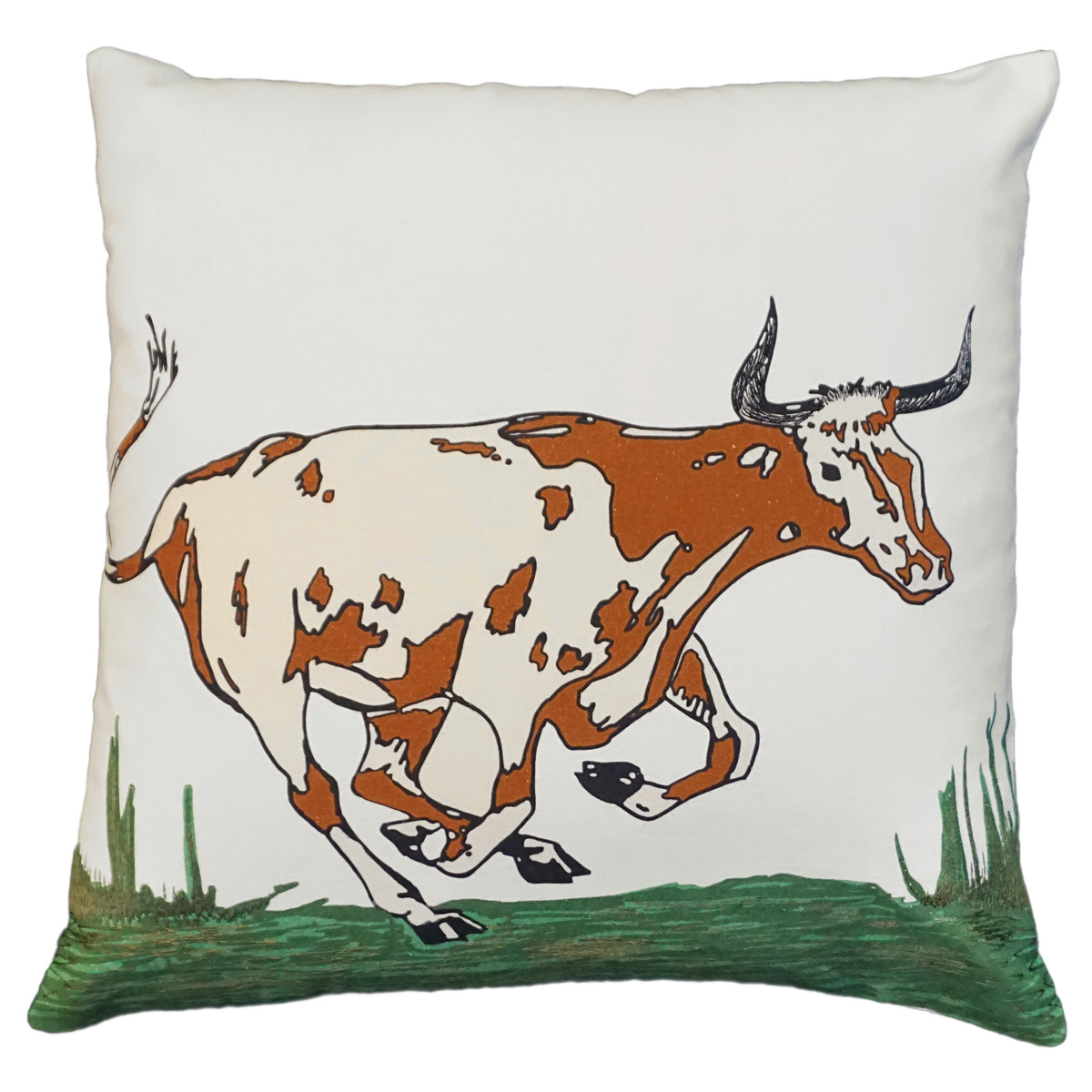 Longhorn Cow Embroidered Pillow
