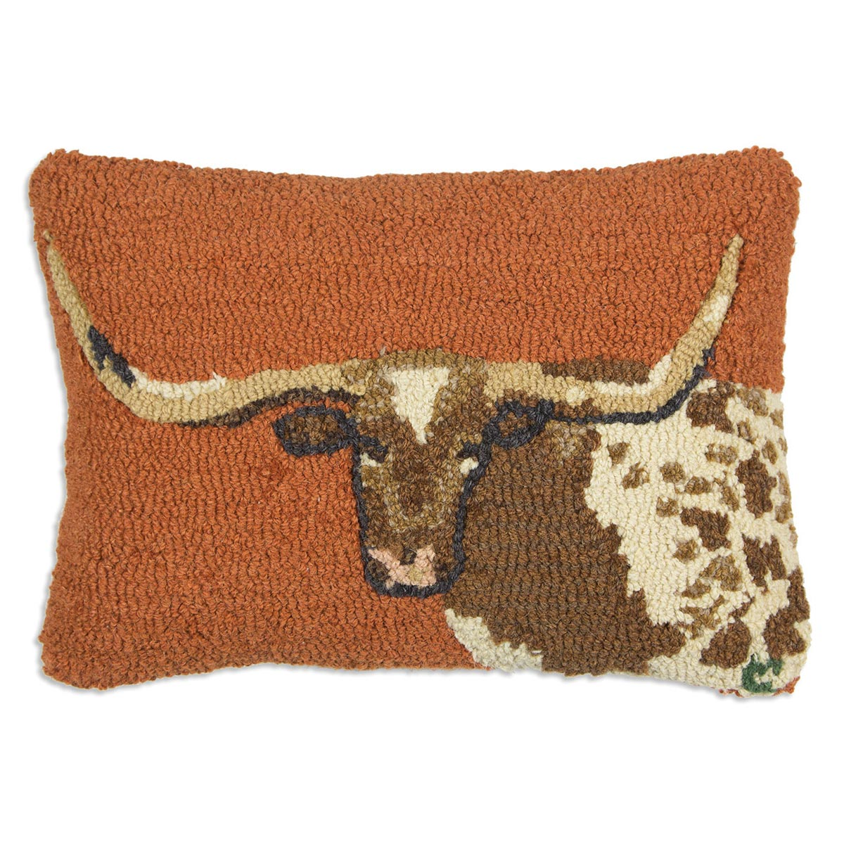Longhorn Hooked Wool Pillow - 14 x 20