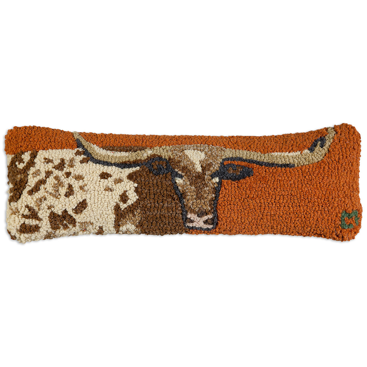 Longhorn Hooked Wool Pillow - 8 x 24