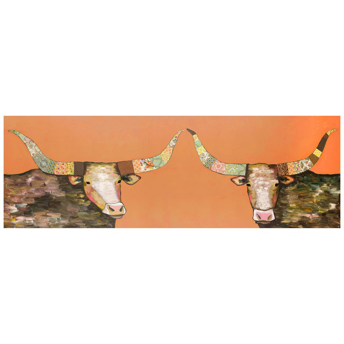 Longhorn Couple Orange Wall Art - 36 x 12
