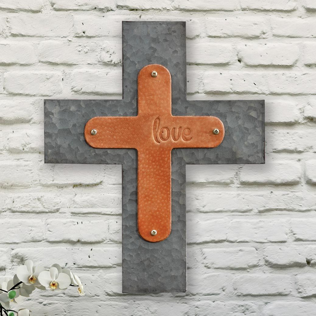 Love Leather & Metal Wall Cross
