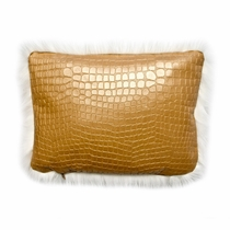 Luminesque Faux Crocodile Leather Accent Pillow