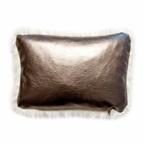 Luminesque Gold Faux Leather Accent Pillow