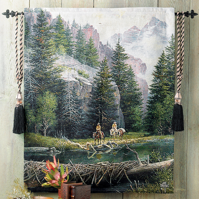 Lure of the Rockies Cowboy Tapestry Wall Hanging