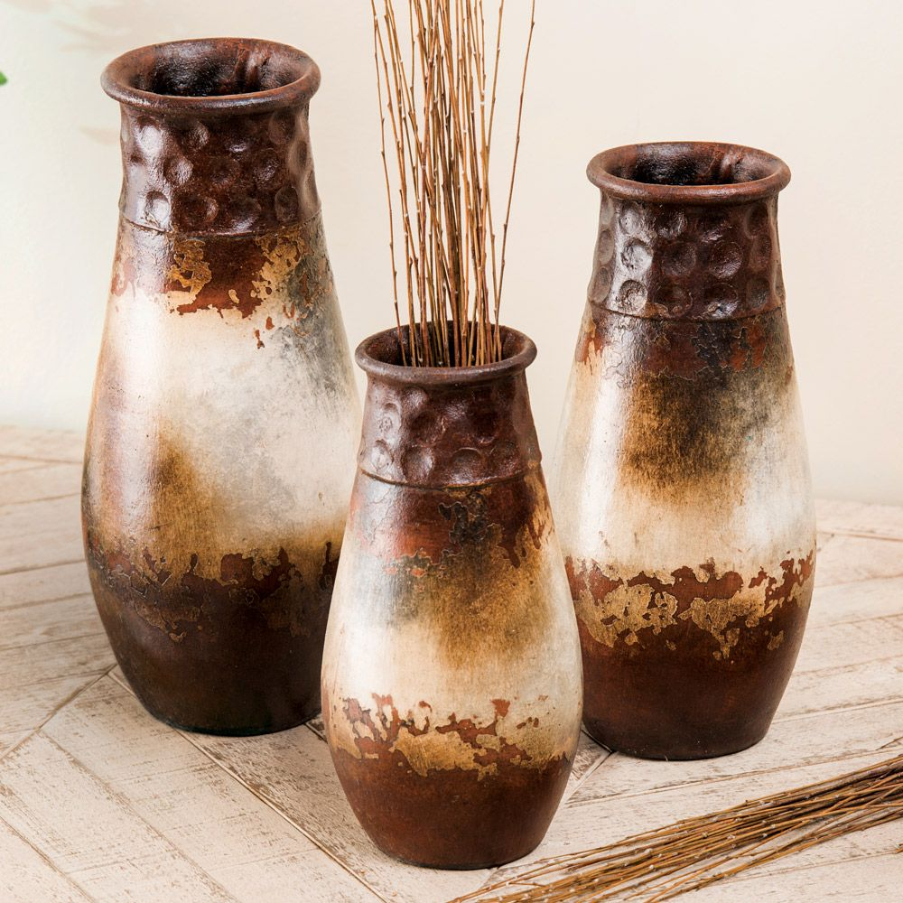 Salado Rust Pottery Vases (Set of 3)