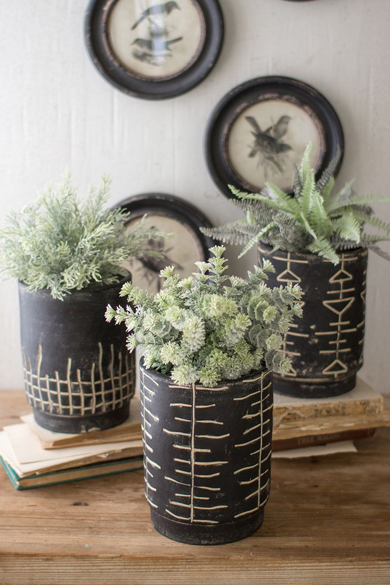 Matte Black Clay Planters - Set of 3