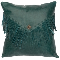 Maya Peacock Leather Fabric Back Pillow