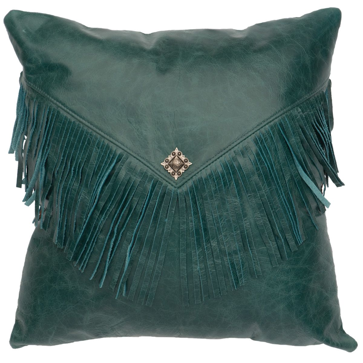 Maya Peacock Leather Pillow