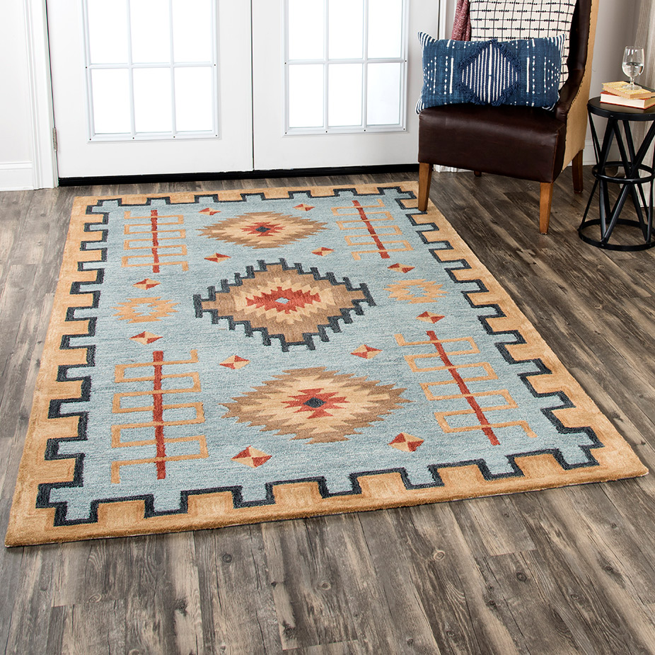 Mesa Tribal Light Blue Rug - 10 x 13