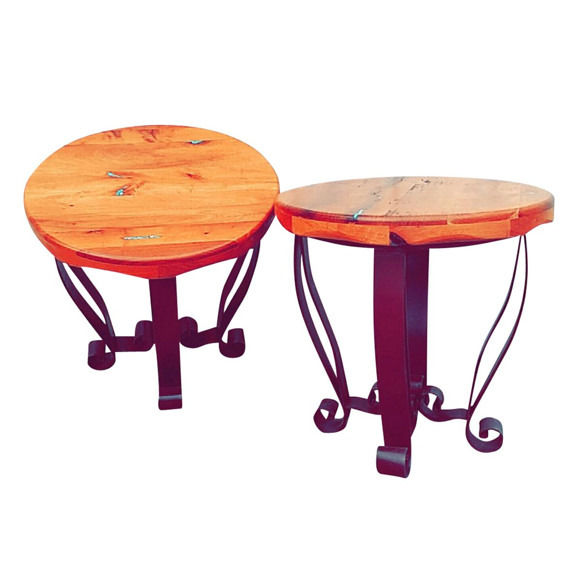 Mesquite Scroll End Tables with Turquoise Inlay - Set of 2