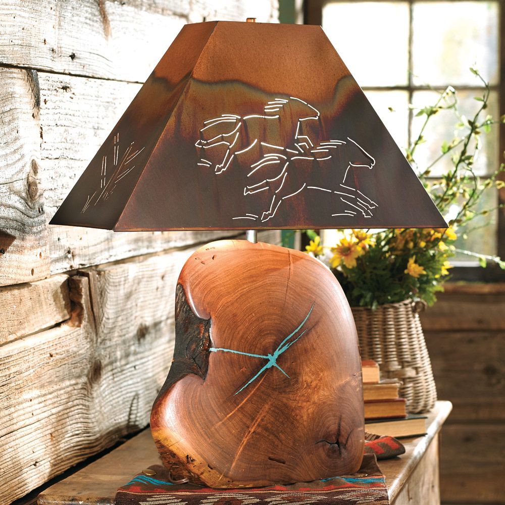 Mesquite Turquoise Lamp with Copper Horse Shade - 25 Inch