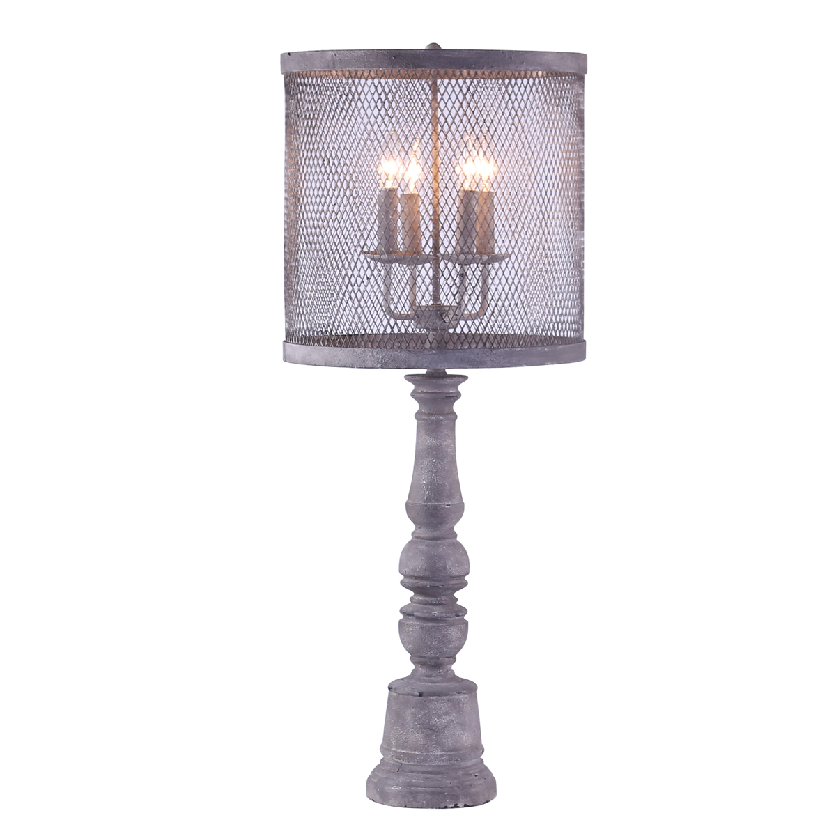 Metal and Mesh Four Light Table Lamp