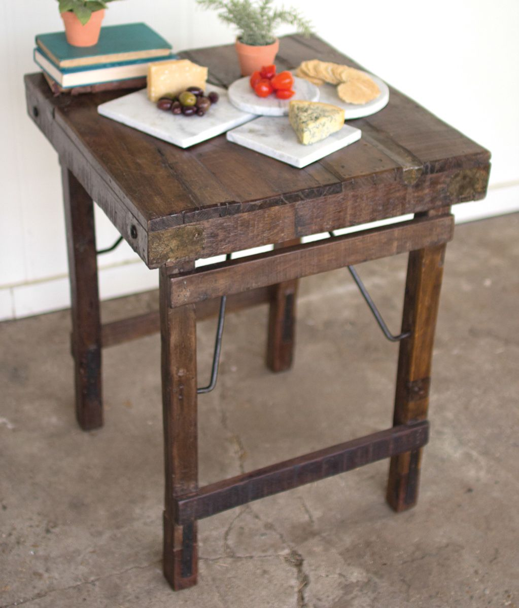 Metal and Reclaimed Wood Side Table